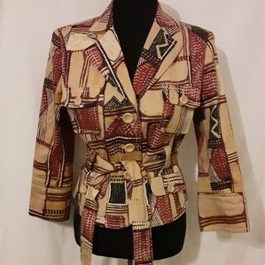 Herve Leger Printed Blazer Red and Tan Size S